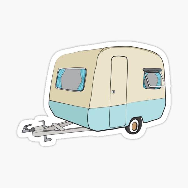 Retro 1970s Caravan Sticker
