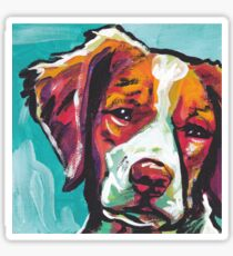 Brittany Spaniel Bright colorful pop dog art Sticker
