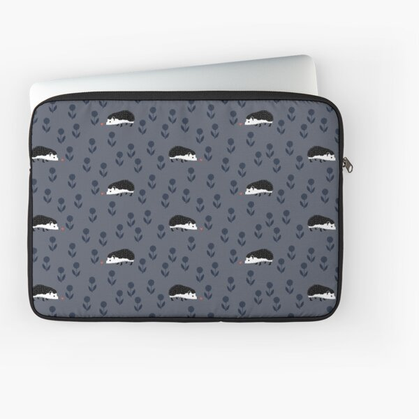 Hedgehog Finds Love - Black, Indigo Blue, Salmon and White on Gray Laptop Sleeve