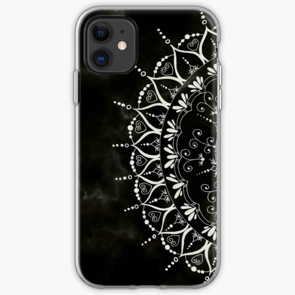Black Floral Mandala Marble Pattern iPhone Soft Case