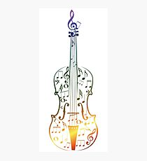 Colorful Violin with Notes Photographic Print