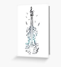 Blue Violin with Notes Greeting Card