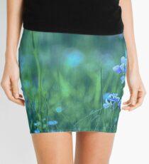 Blue Spring Flowers Mini Skirt