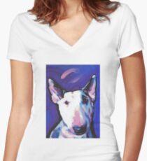 Bull Terrier Dog Bright colorful pop dog art Women's Fitted V-Neck T-Shirt