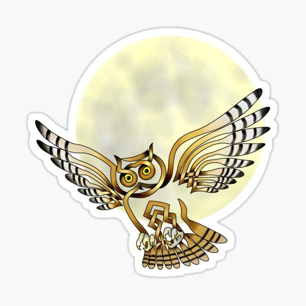 Celtic Knot Owl Moon Sticker