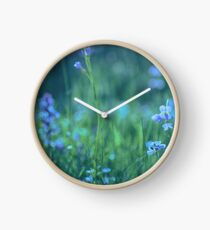 Blue Spring Flowers Clock