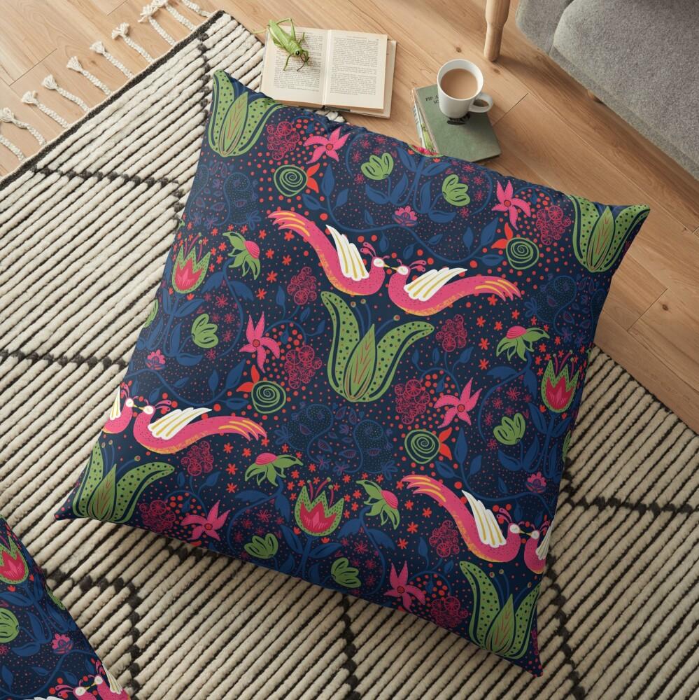 Moira - folk floral Floor Pillow