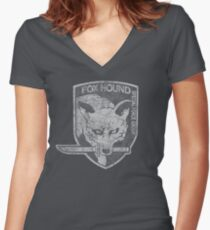 Battle Worn - Fox Hound Special Force Group  Women's Fitted V-Neck T-Shirt