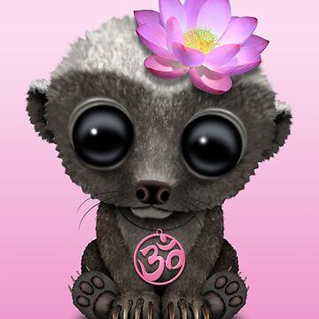 Tejón de miel zen con símbolo de yoga rosa om de JeffBartels