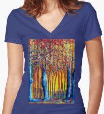 Poplars at daybreak Women's Fitted V-Neck T-Shirt
