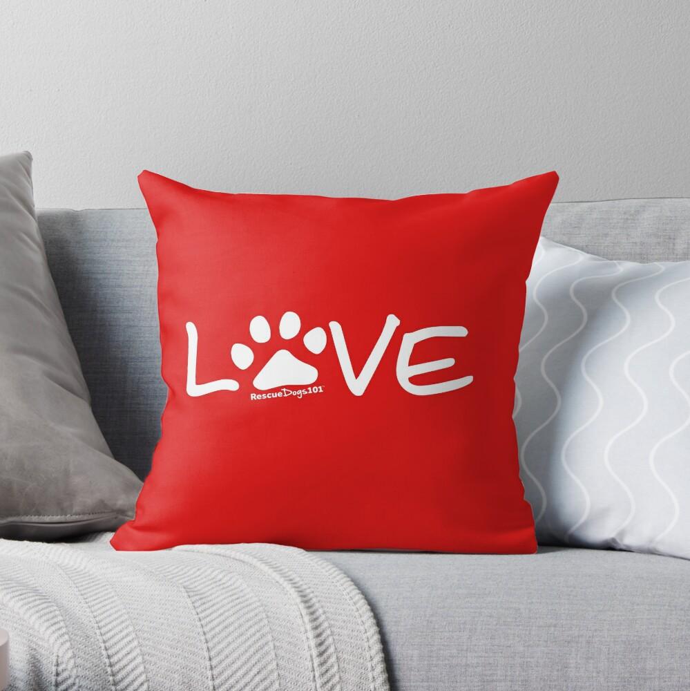 Love Dog Paw Print (white reverse print) Throw Pillow