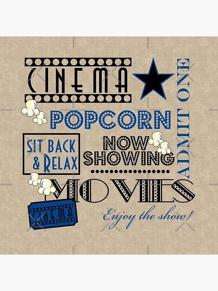 Movie Theater Cinema Admit one ticket Pillow-Blue by littlebeane