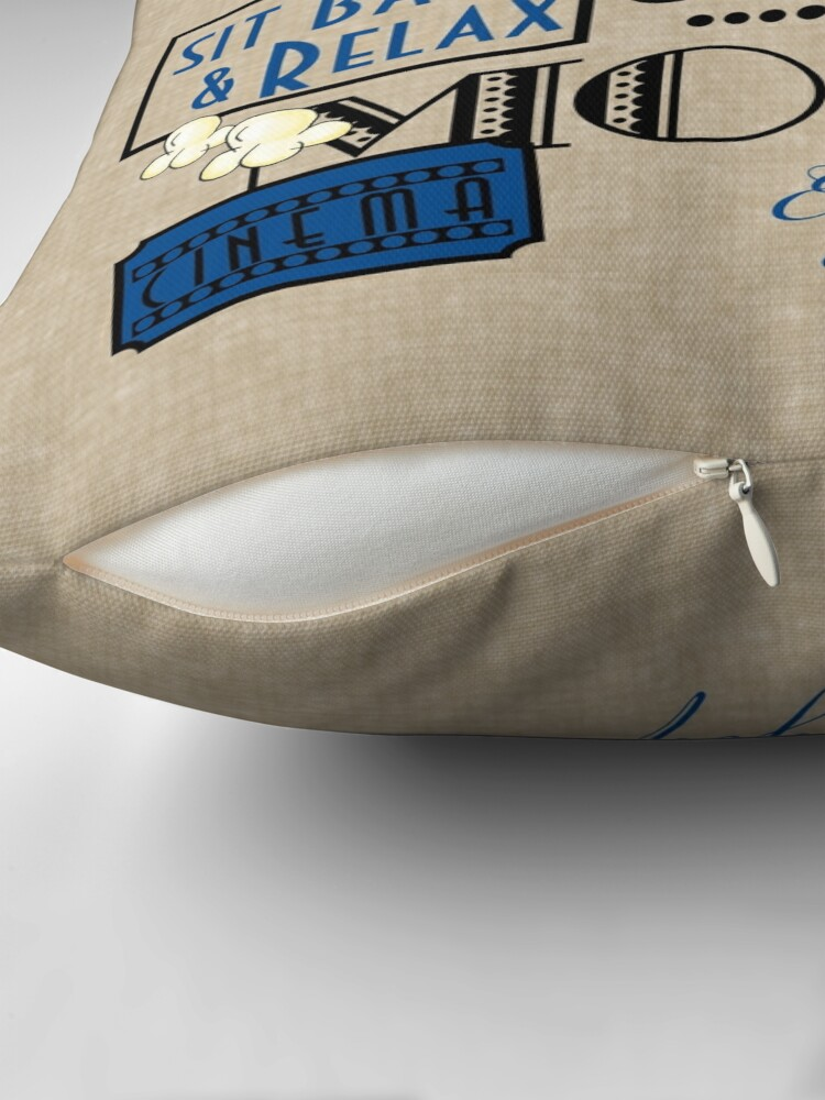 Alternate view of Movie Theater Cinema Admit one ticket Pillow-Blue Throw Pillow