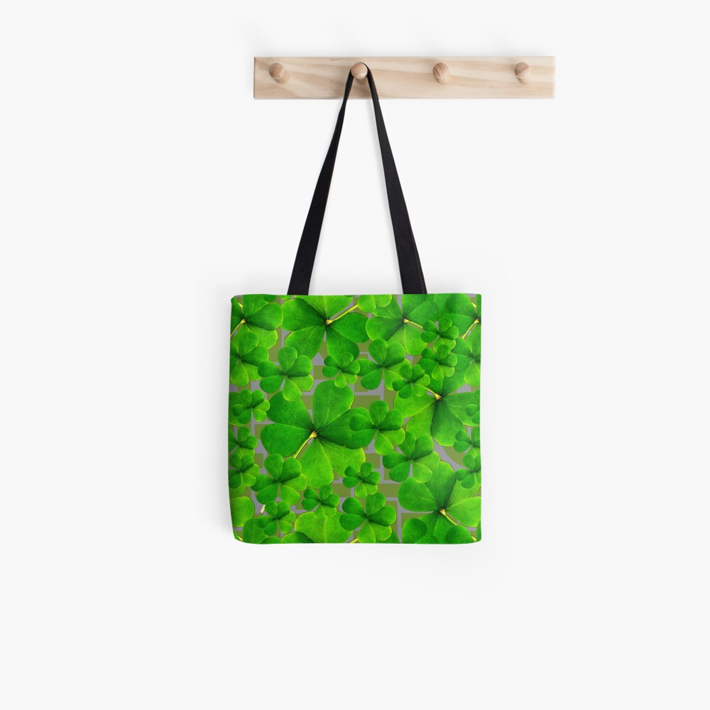 Falling Shamrock Pattern with Celtic Background Tote Bag