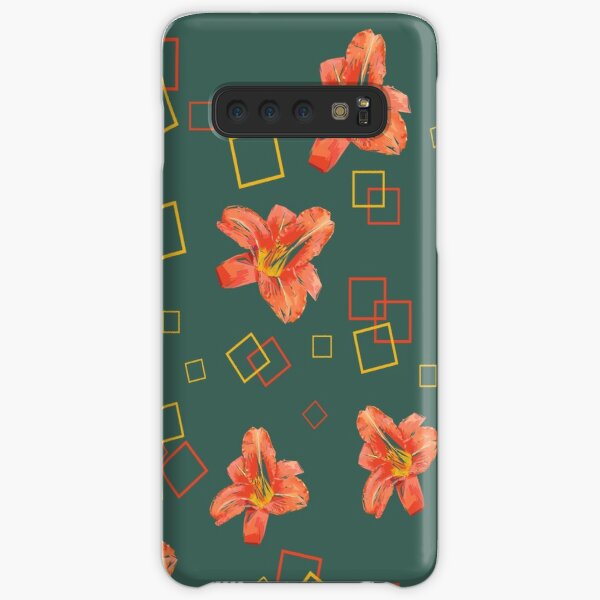 Orange lily with squares. Pattern on blue-grey. Samsung Galaxy Snap Case