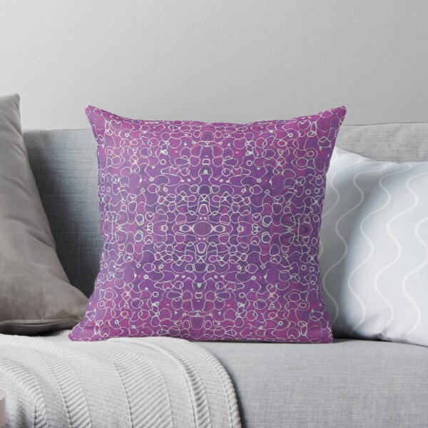 Intricate Linework Abstract Watercolor Throw Pillow