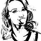 Chelsey Reist Black and White Bubble Gum Girl by heyjayyay