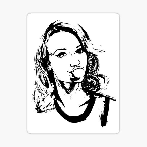 Chelsey Reist Black and White Bubble Gum Girl Sticker