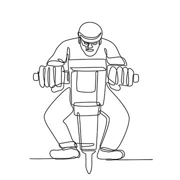 Construction Worker Jackhammer Continuous Line by patrimonio