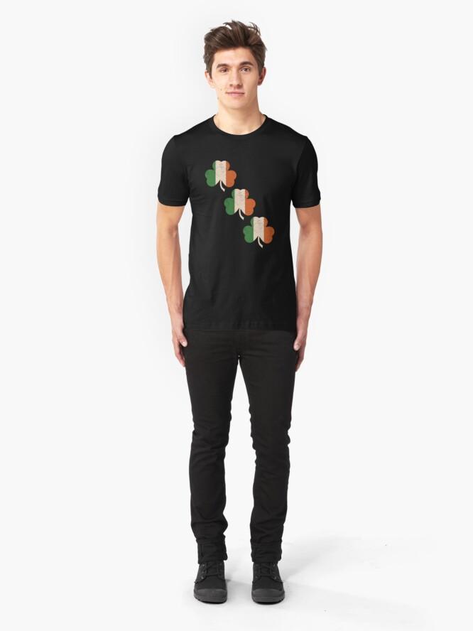 Alternate view of Three Shamrocks - Distressed, Vintage Style Slim Fit T-Shirt