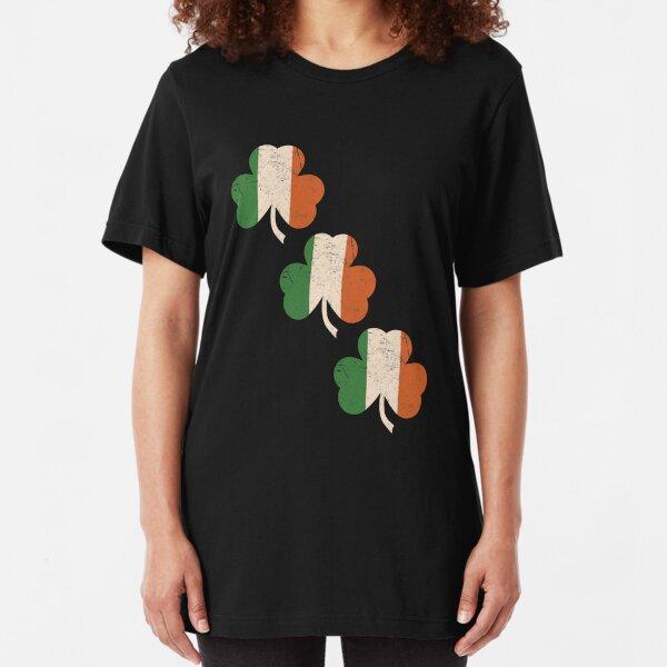 Three Shamrocks - Distressed, Vintage Style Slim Fit T-Shirt