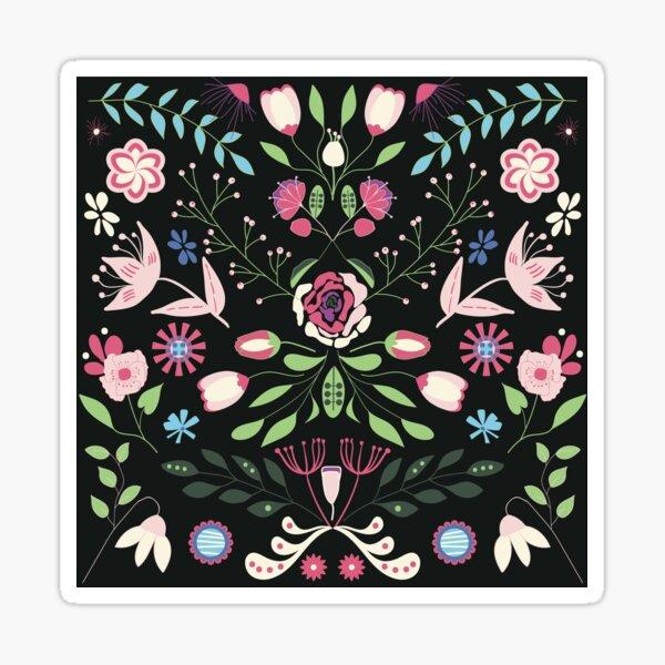 Floral folk design on dark background Sticker