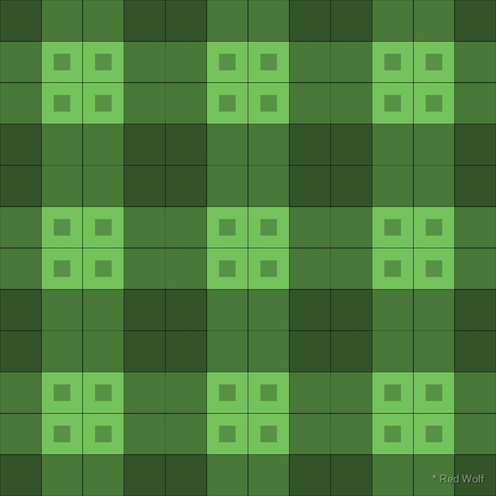 Geometric Pattern: Button Weave: Dark/Green by * Red Wolf