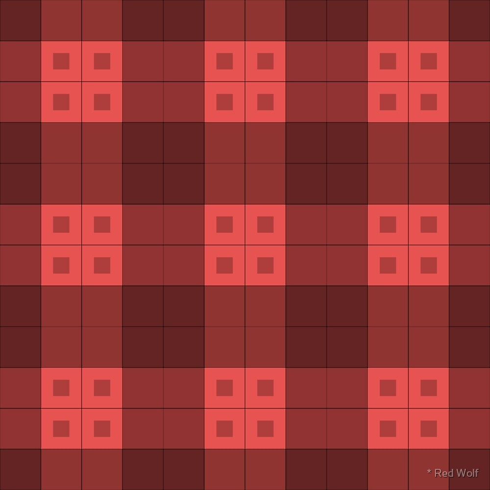Geometric Pattern: Button Weave: Dark/Red by * Red Wolf