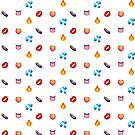 Suggestive Emoji Pattern - Eggplant, Peach, Tongue and More  by Queerest Gear