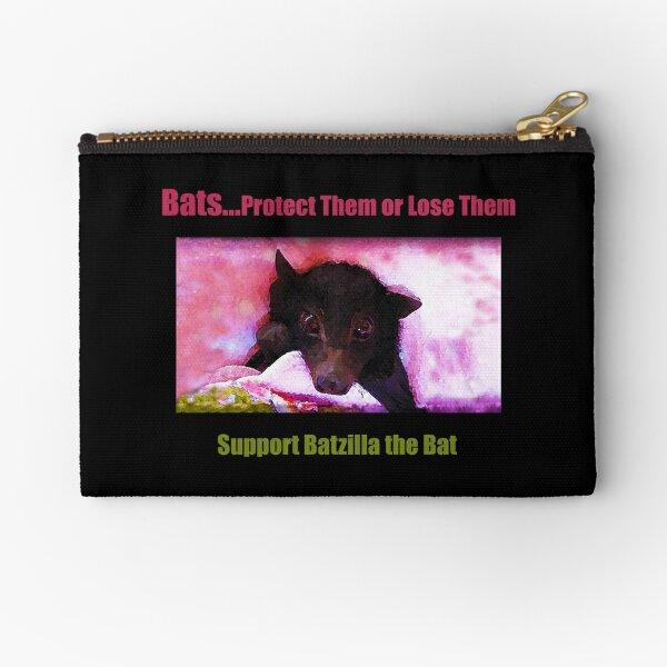 Batzilla - Batzilla's Own Motto: Bats... Protect Them or Lose Them  Zipper Pouch