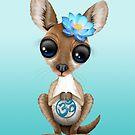 Zen-Baby-Känguru mit blauem Yoga Om-Symbol von jeff bartels