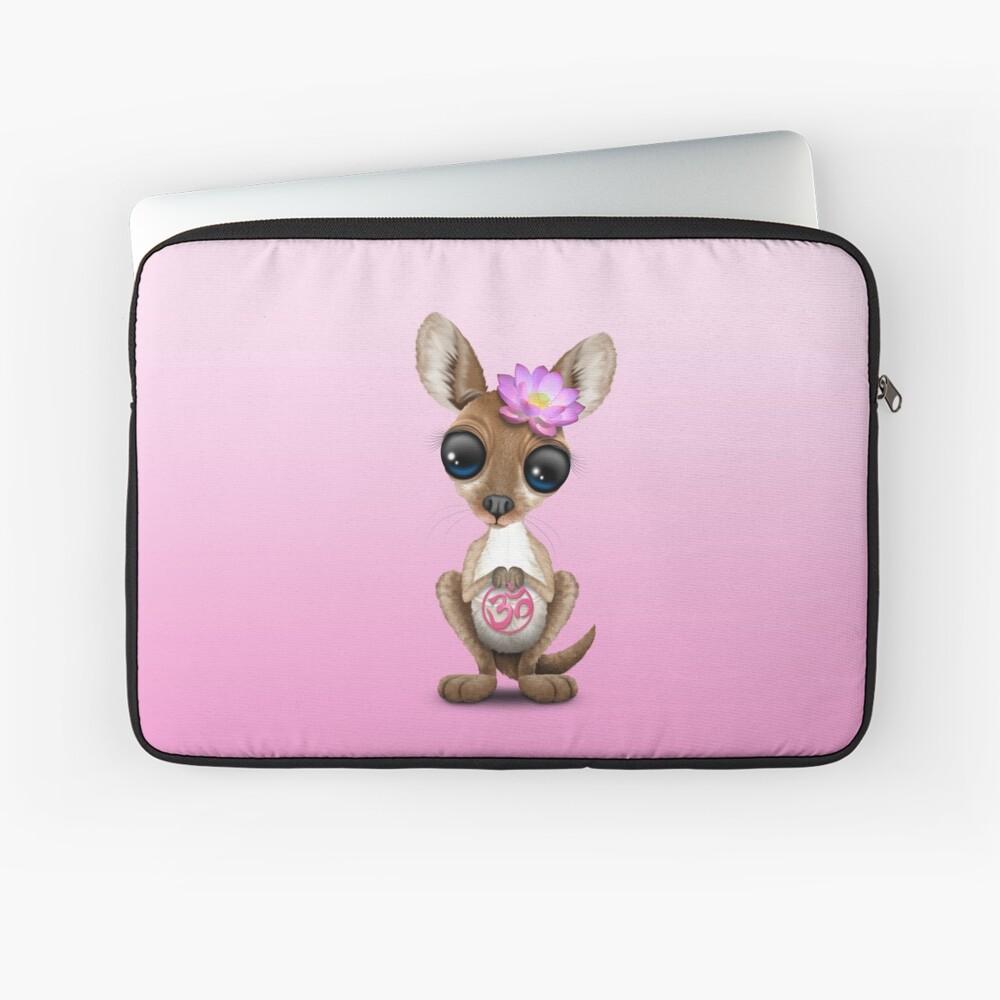 Zen-Baby-Känguru mit rosa Yoga Om-Symbol Laptoptasche