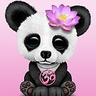 Zen-Baby-Panda mit rosa Yoga OM-Symbol von jeff bartels