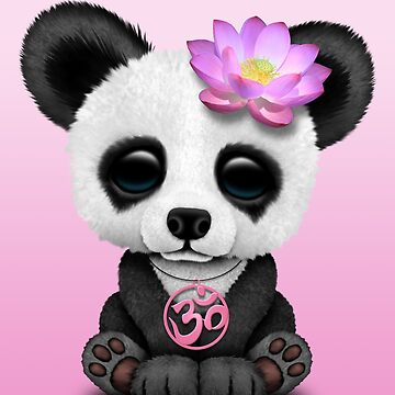Zen Baby Panda con símbolo de yoga rosa Om de JeffBartels