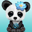 Zen-Baby-Panda mit blauem Yoga Om-Symbol von jeff bartels
