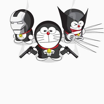 Doraemon Meets SuperHeroes by glitchgee