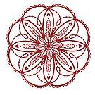 Rote Blumenmandala mit ausgebogten Rändern auf einfachem / weißem Hintergrund von Jenndoodles