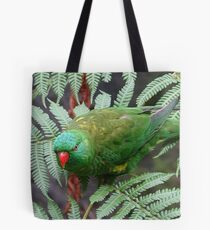 Parrot on fern Tote Bag