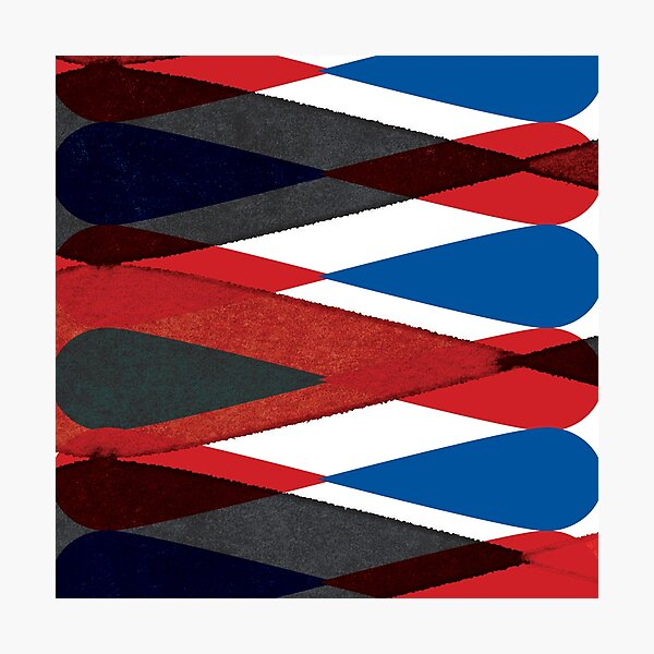 Retro Harlequin Pattern in Red, White, Blue and Black, perfect for throw pillows and cushions. Photographic Print