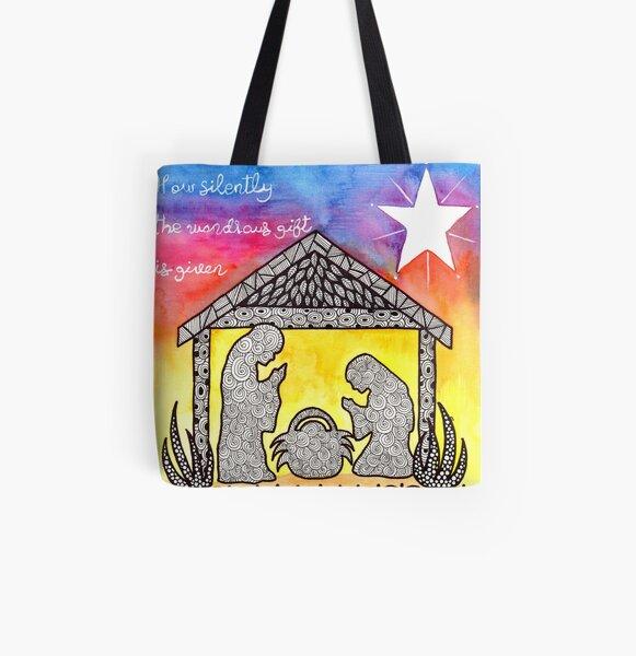 Watercolor Doodle   Nativity Scene All Over Print Tote Bag