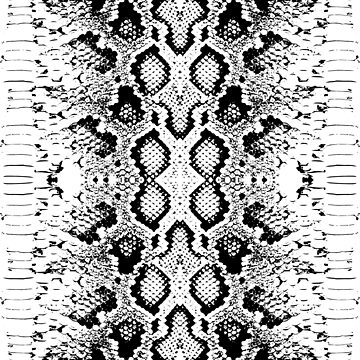 Snake skin texture. Seamless pattern black on white background. ornament by EkaterinaP