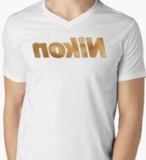 Nokin/Nikon Gold Textured Mirror Men's V-Neck T-Shirt