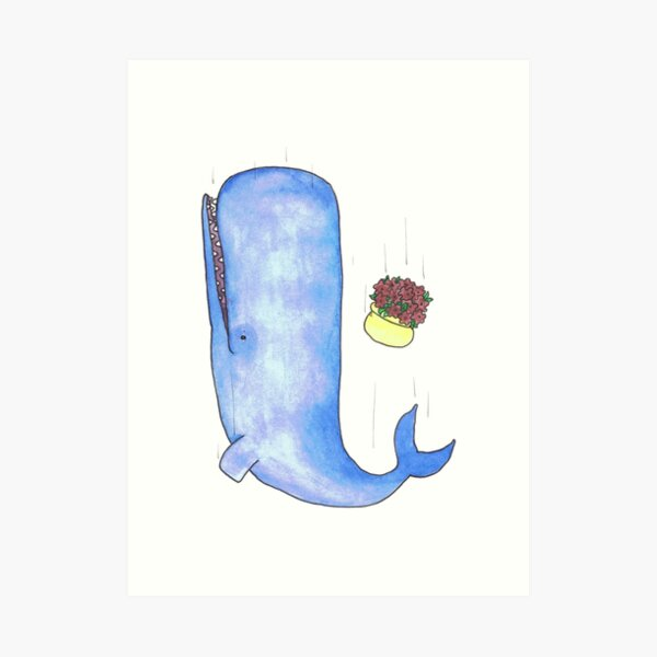 A sperm Whale and a bowl of petunias, falling. Art Print