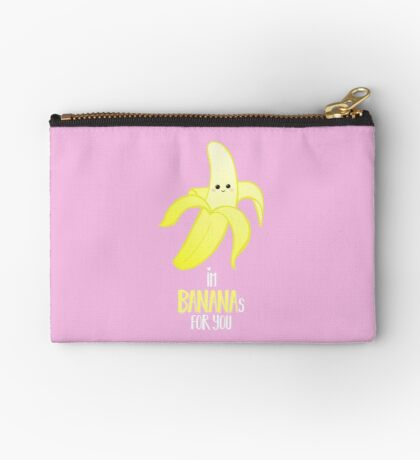I'm BANANAS for you - Valentines Day - Anniversary - Valentine's Puns - Anniversary Puns - Funny Card - Funny Gifts - Banana Pun - Fruit Pun Zipper Pouch