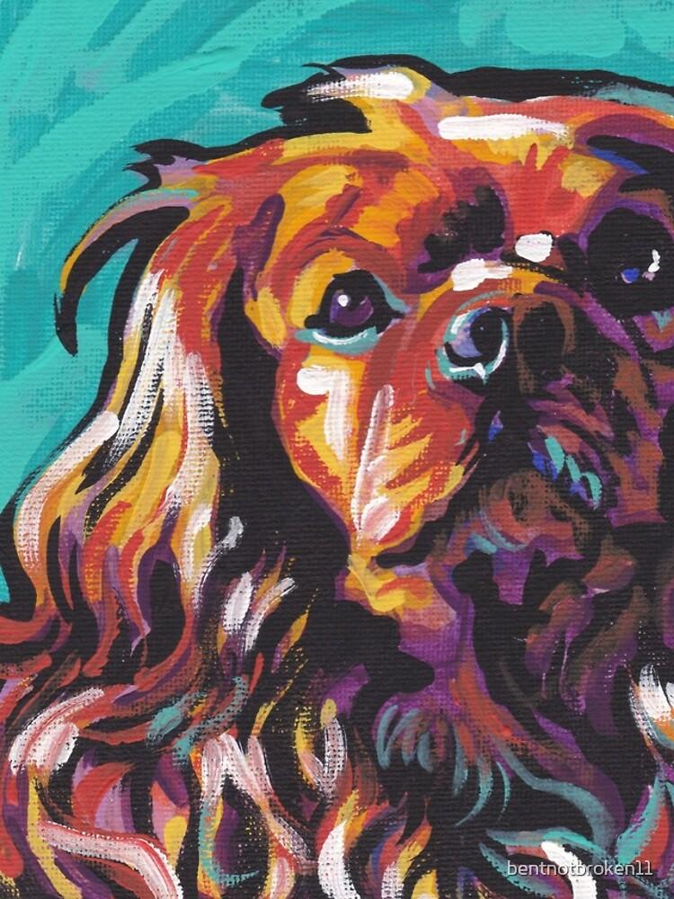 cavalier king charles spaniel perro colorido brillante perro pop art de bentnotbroken11