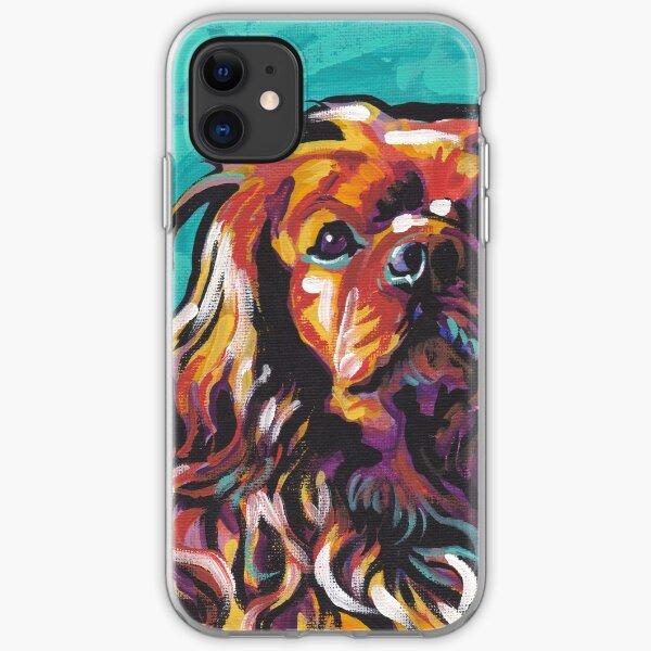 cavalier king charles spaniel Dog Bright colorful pop dog art iPhone Soft Case