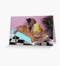 Funny Cat Massage  Greeting Card