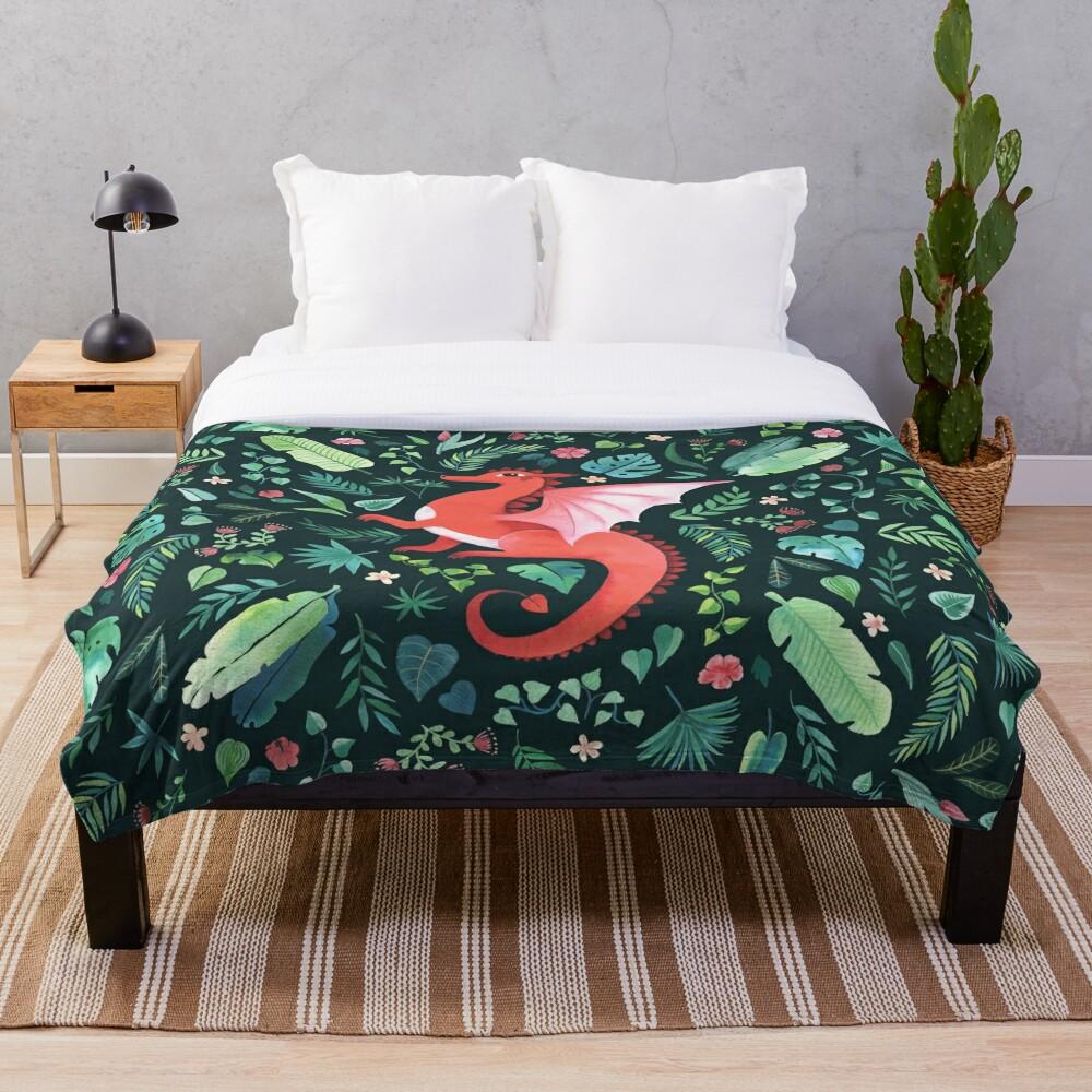 Tropical Dragon Throw Blanket