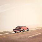 Fast muscle car, speeding through the desert by jonathankemp