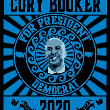 Cory Booker For President 2020 Blue and Black Democrat by funnytshirtemp
